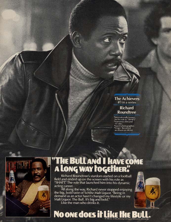 Image for Richard Roundtree [SHAFT!] for Schlitz Malt Liquor The Bull ad 1981 EB