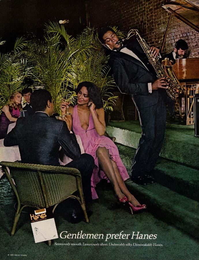 Image for Gentlemen prefer Hames Pantyhose ad 1981 black saxophonist ogles gams