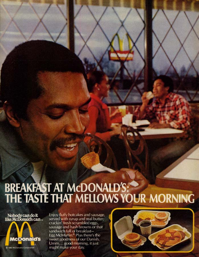 Image for The taste that mellows your morning Breakfast at McDonald's ad 1980 black man