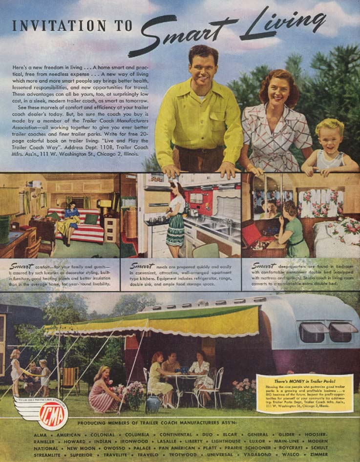 Image for Invitation to Smart Living: Trailer Coach Manufacturers ad 1946 SEP