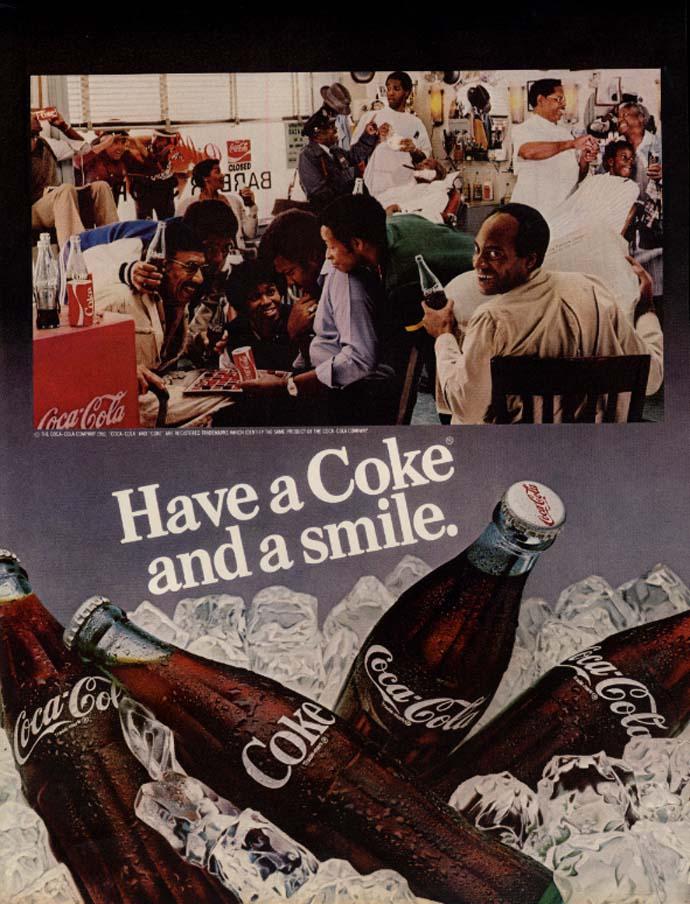 Have a Coke & a smile Coca-Cola ad 1981 black barbershop & checkers EB