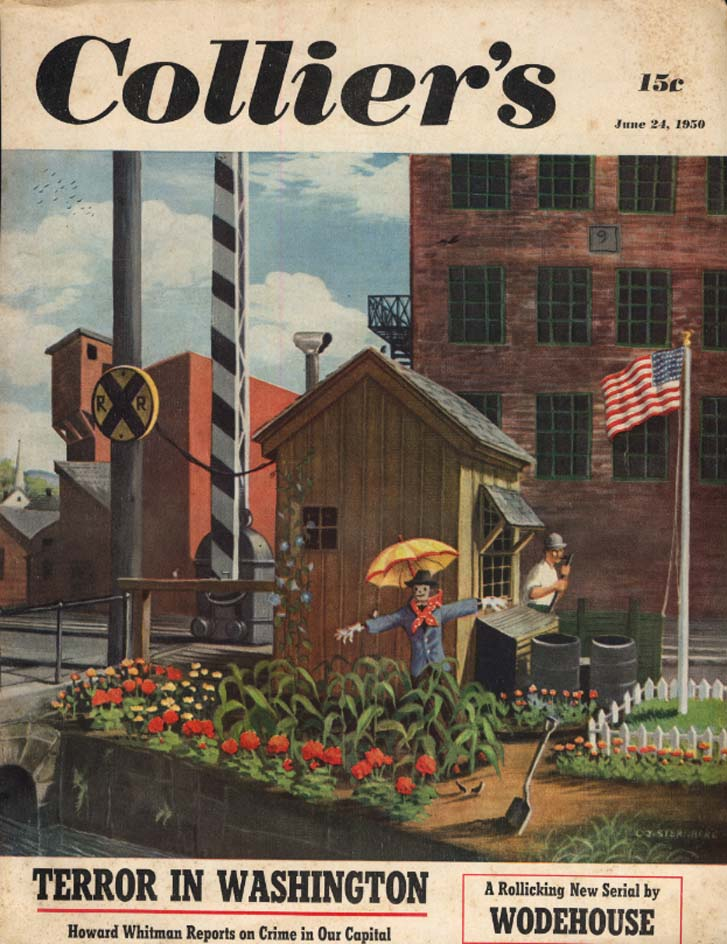 COLLIER'S COVER 1950 Railroad switchman's flower garden by Sternberg