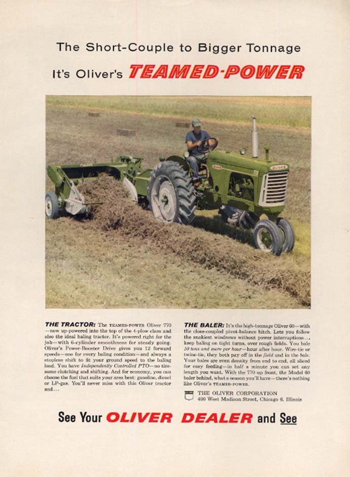 Image for Short-Couple to Bigger Tonnnage_ Oliver 770 Teamed-Power Tractor & Baler ad 1959