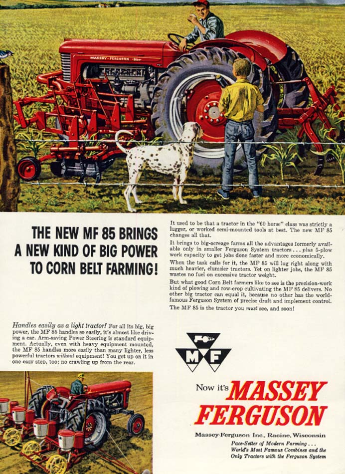 Image for New Power to Corn Belt Farming: Massey Ferguson MF 85 Tractor ad 1959