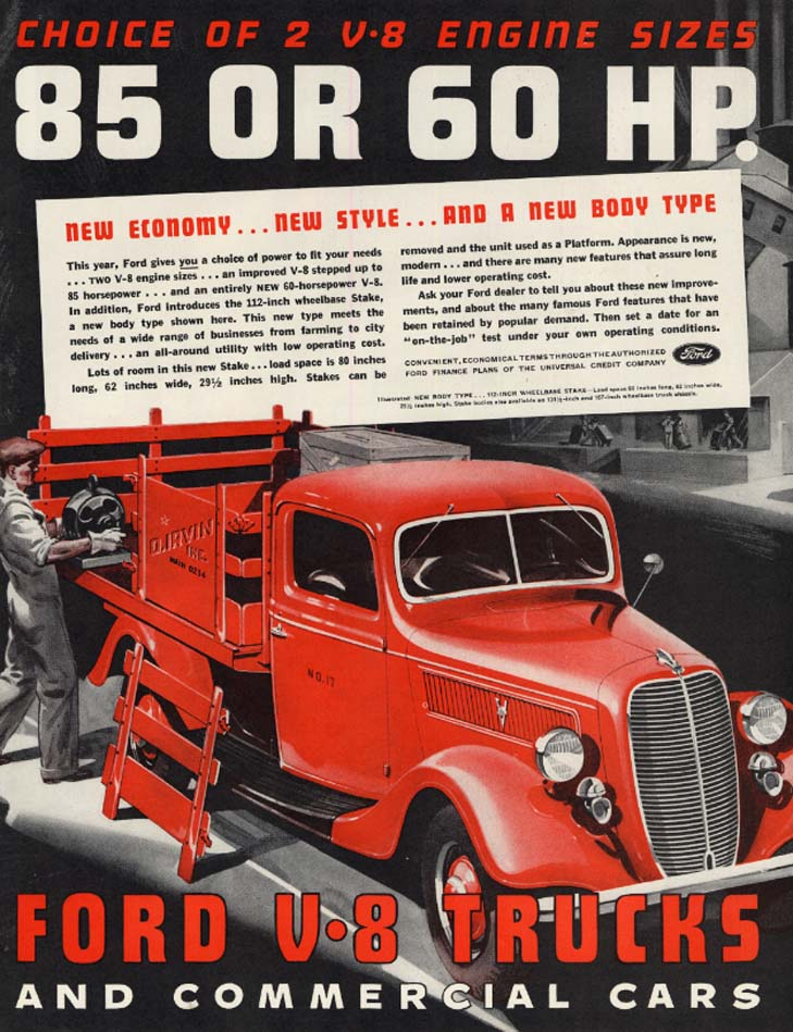 Choice of 2: 85 or 60 HP Ford V-8 Trucks ad 1937 stakeside SEP