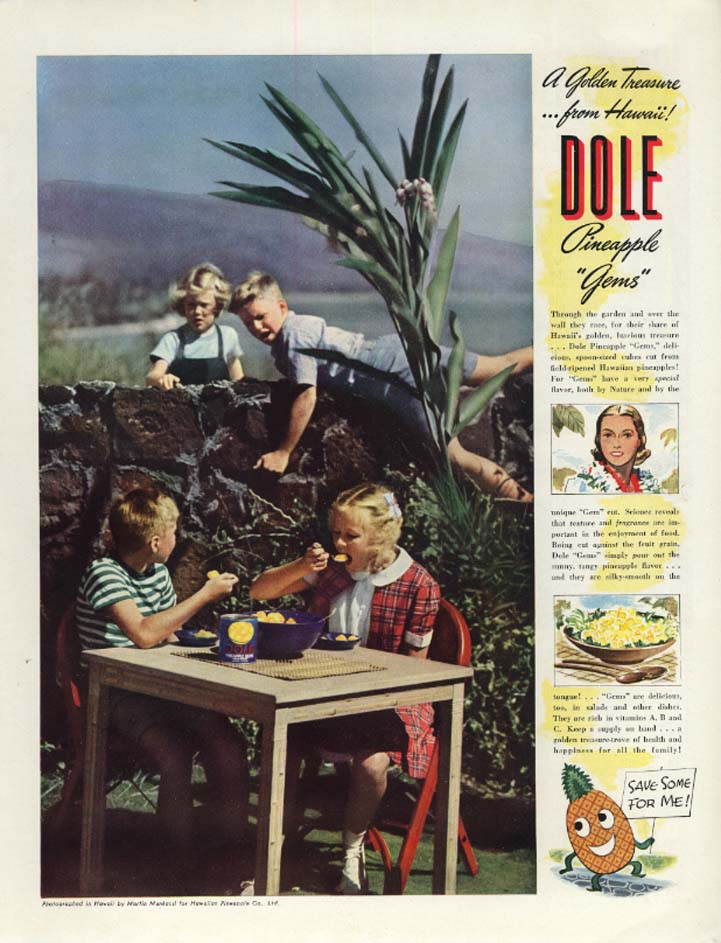 Golden Treasure from Hawaii! Dole Pineapple Gems ad 1939 Munkcasi photo McC