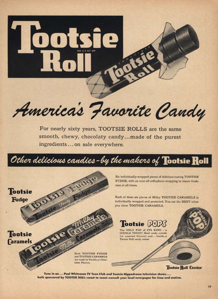 Image for America's Favorite Candy Tootsie Roll Pops Fudge & Milky Caramels ad 1953 L