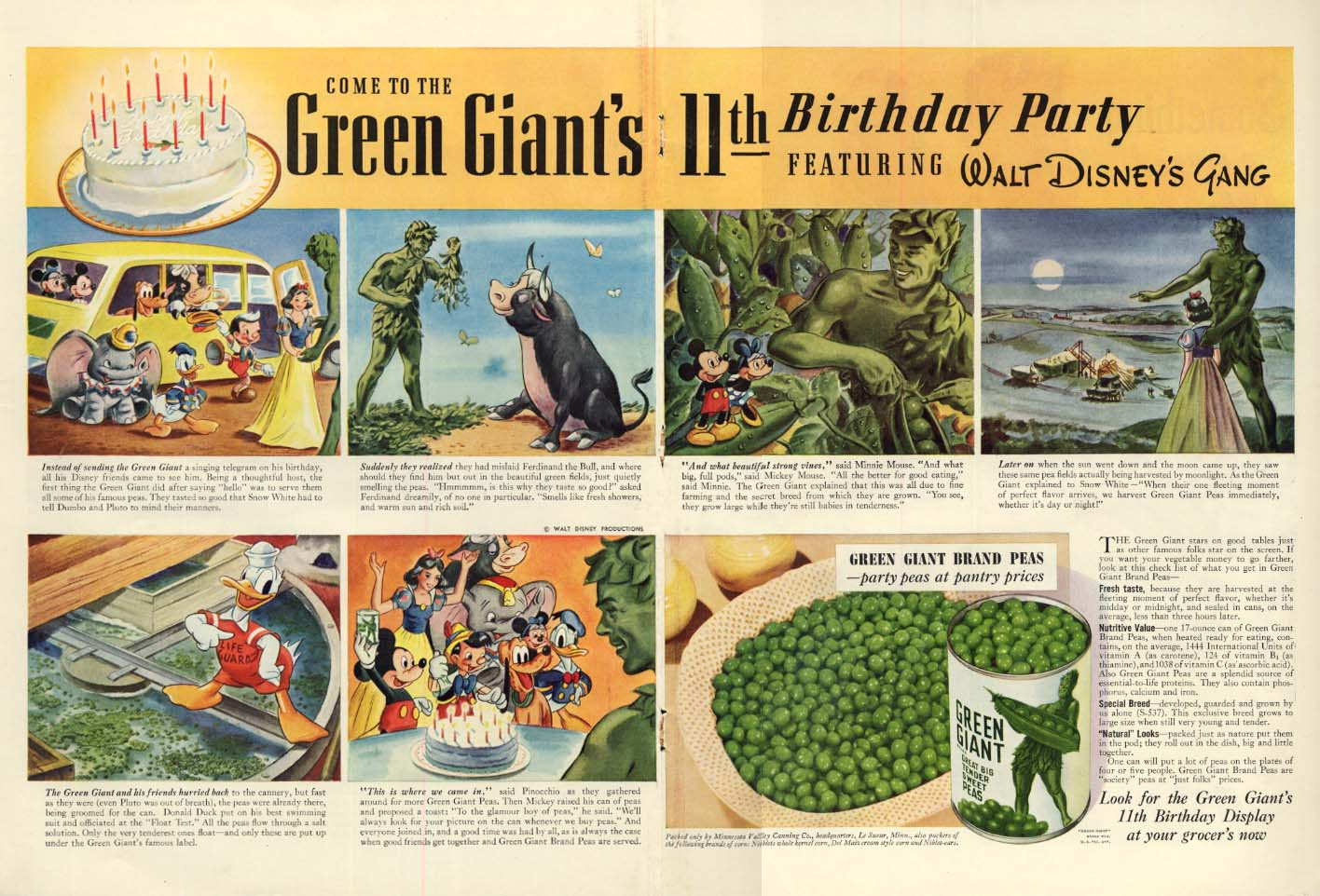 Come to the Green Giant's 11th Birthday Party Walt Disney's Gang ad 1941 L