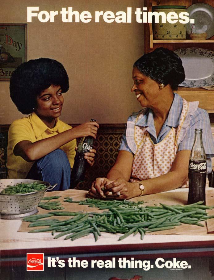 For the real times - Coca-Cola ad 1974 black grandma & grandson EB
