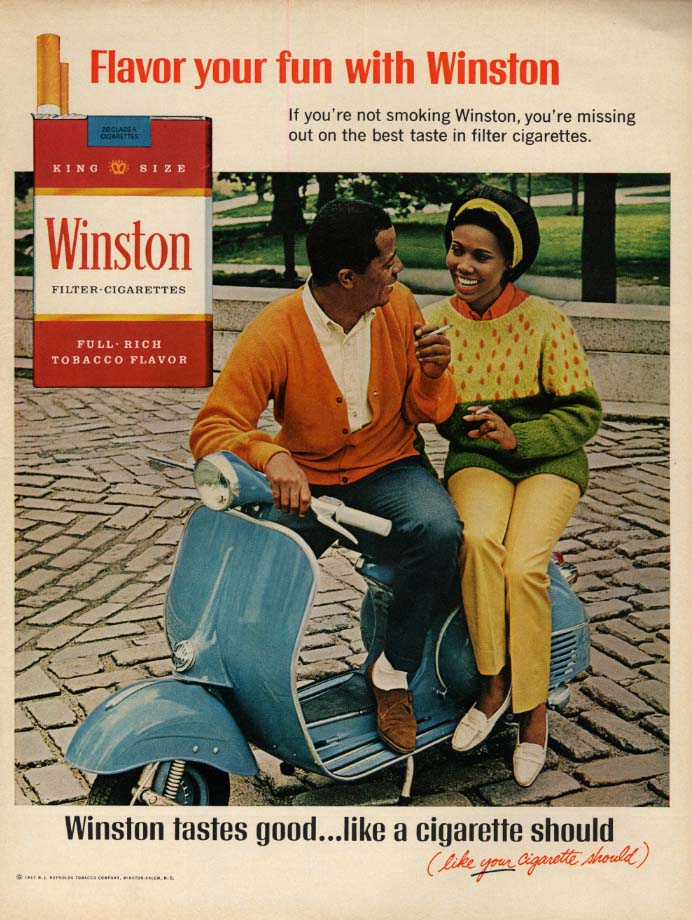 Flavor your fun with Winston cigarettes ad 1967 black couple on Vespa scooter