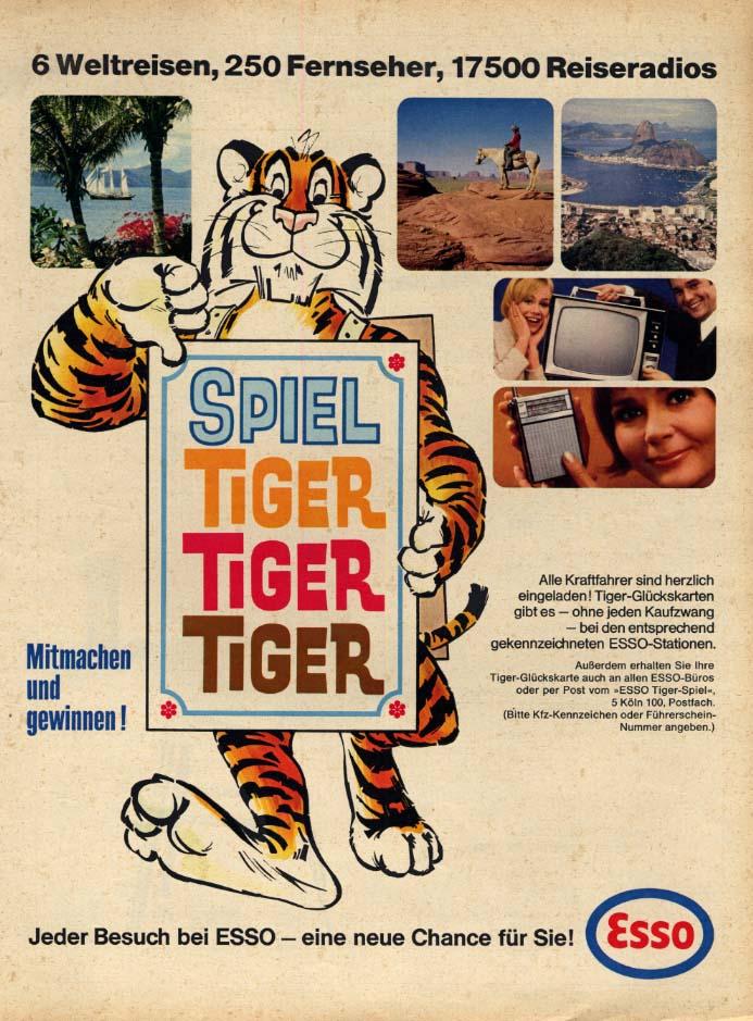 Image for Spiel Tiger Tiger Tiger in Your Tank Esso Gasoline ad in German 1967