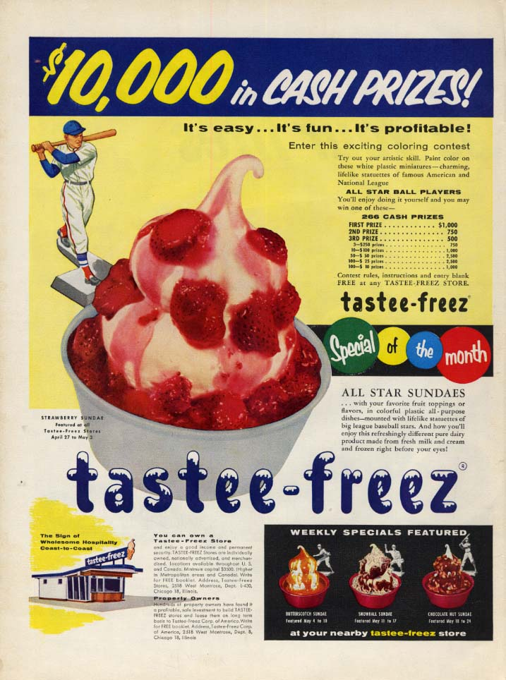 $10,000 in cash prizes! Tastee-Freez Ice Cream Coloring Contest ad 1956 L