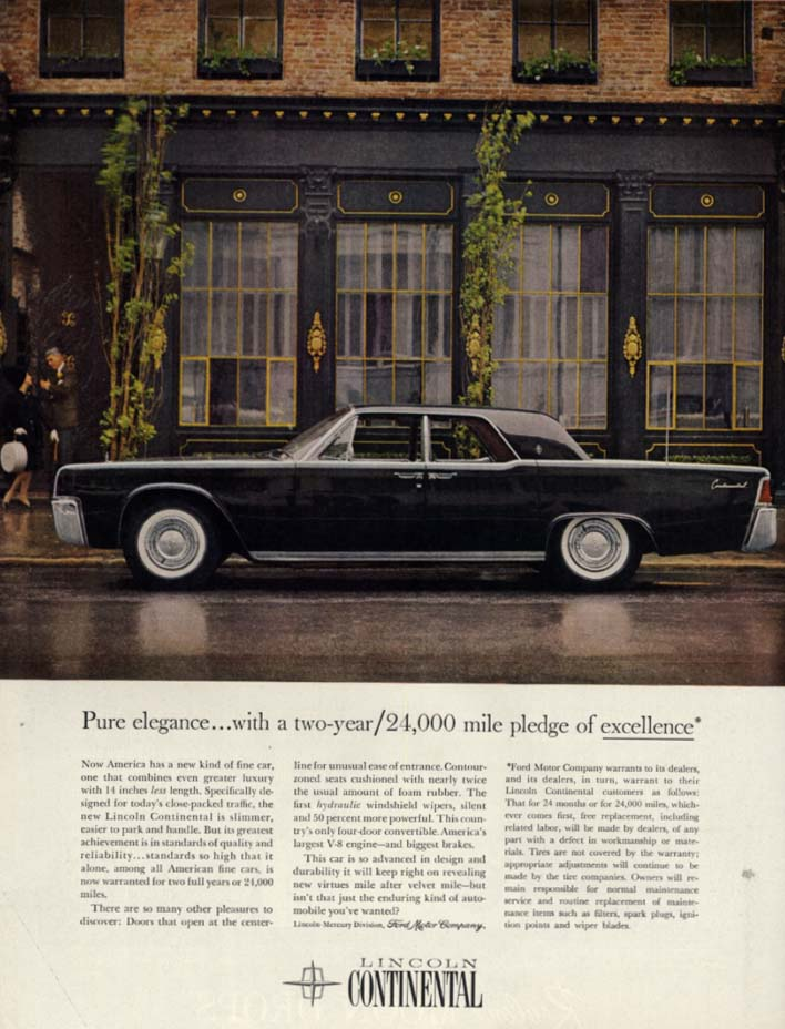 Image for Pure elegance with a 2-year / 24000 mile pledge of excellence Lincoln ad 1961 H