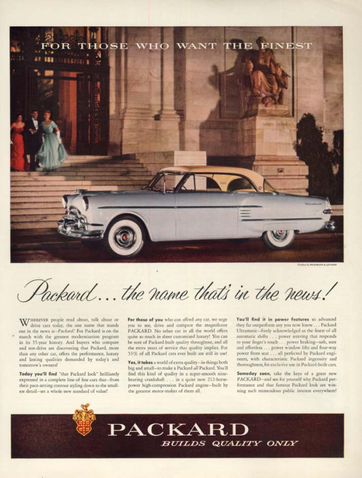The name that's in the news! Packard Hardtop ad 1954 H