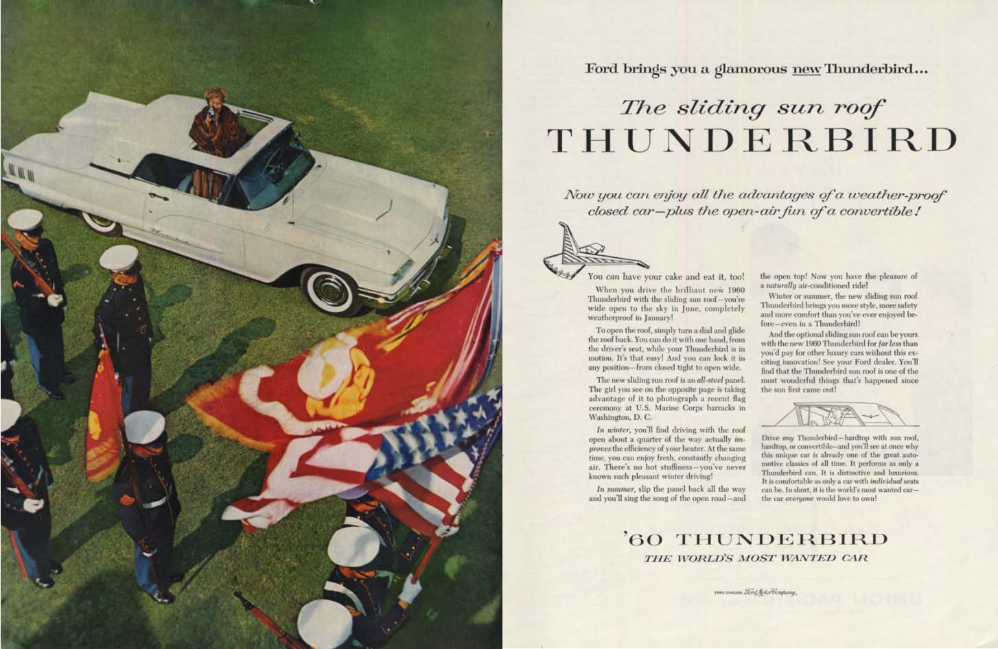 Image for The sliding sun roof Ford Thunderbird ad 1960 H