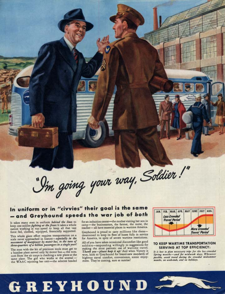 I'm going your way, Soldier! Greyhound Bus ad 1943 Col