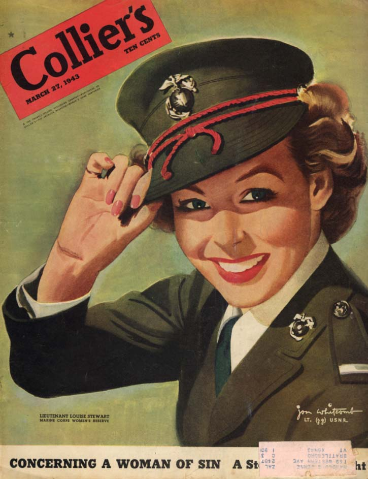 COLLIER'S COVER 1943 USMC Women's Reservist Lt Louise Stewart by Whitcomb