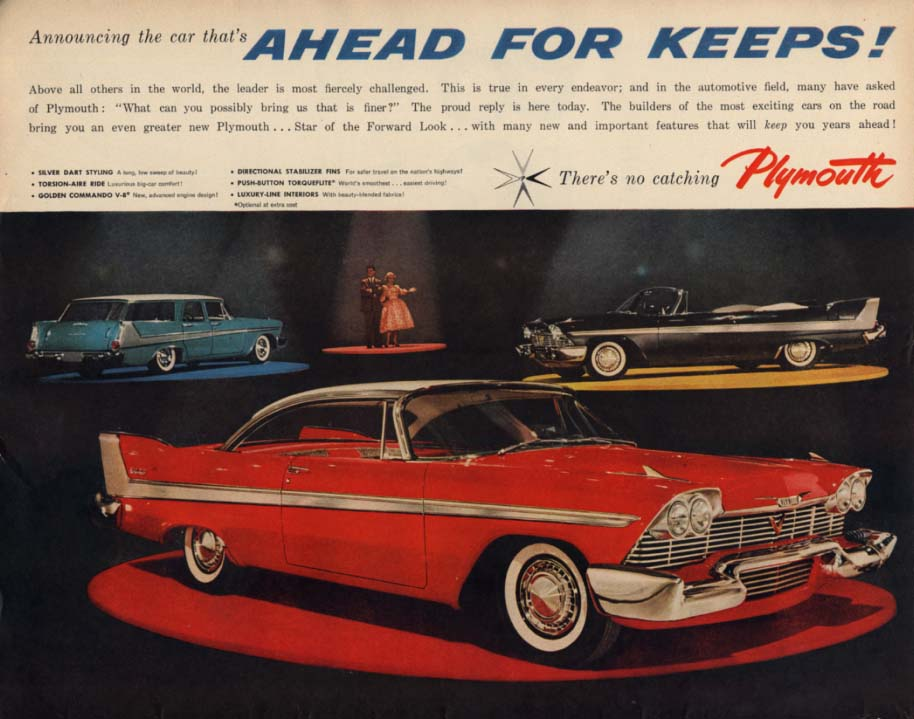 Announcing the car that's Ahead for Keeps! Plymouth Belvedere ad 1958 LK
