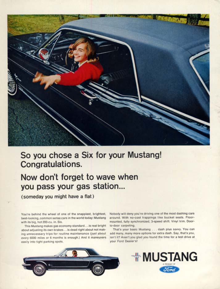 Don't to forget to wave at the gas station Mustang Six ad 1966 L
