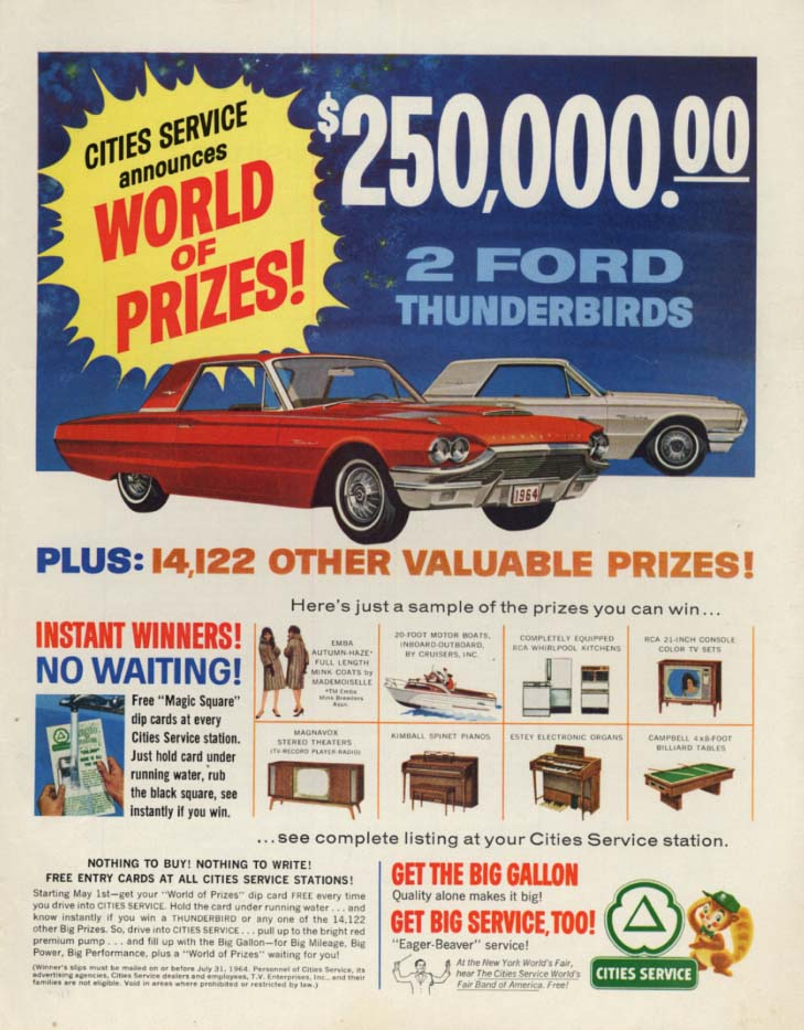 Image for Cities Service World of Prizes! Ford Thunderbird ad 1964 SEP
