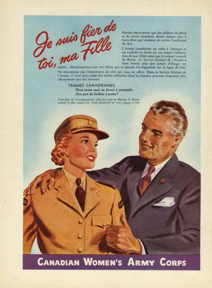 Canadian Women's Army Corps ad 1944 Je suis fier de toi, ma Fille