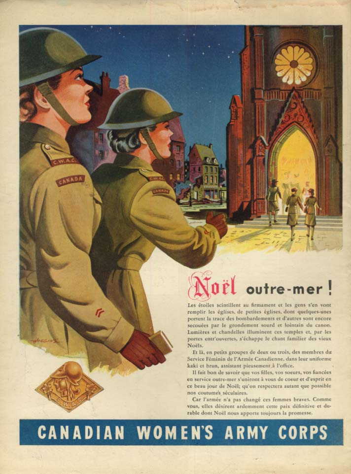 Canadian Women's Army Corps ad 1944 Noel outre-mer!