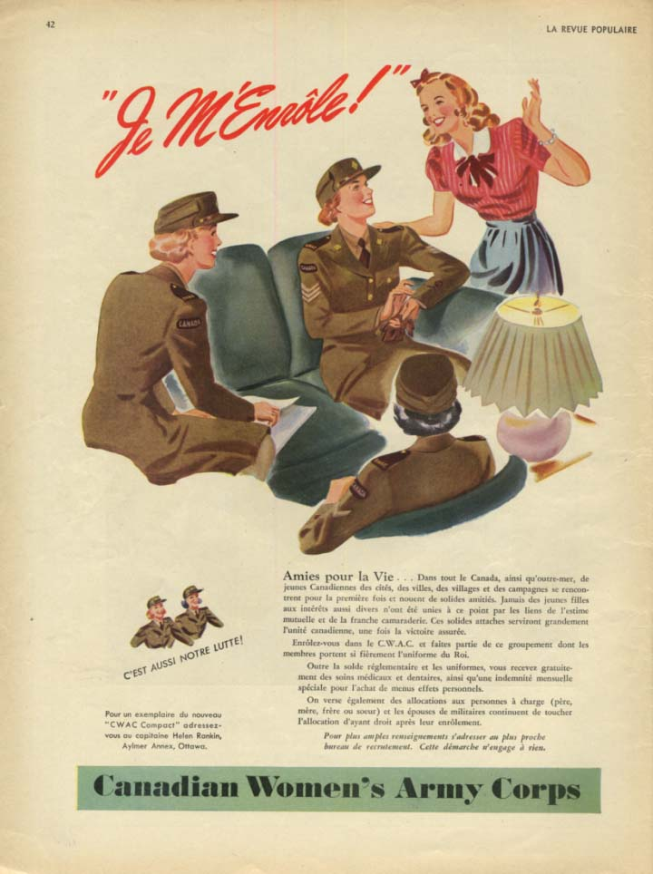 Canadian Women's Army Corps ad 1944 Je M'Enrole!