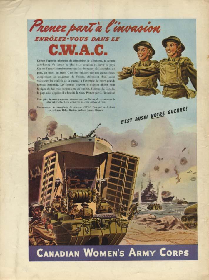 Canadian Women's Army Corps ad 1944 Prenez part a l'invasion enrolez-vous