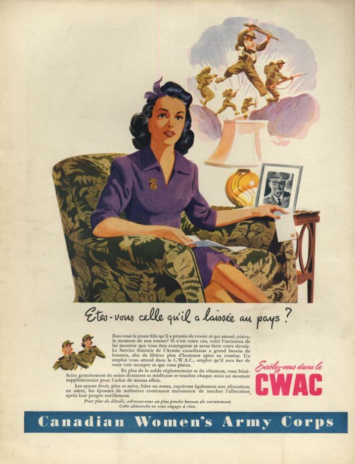 Canadian Women's Army Corps ad 1944 Etes-vous celle qu'il a laisse au pays?