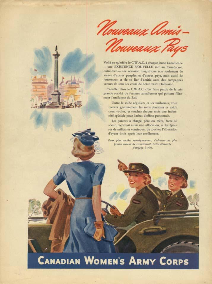 Canadian Women's Army Corps ad 1944 Nouveaux Amis - Nouveau Pays