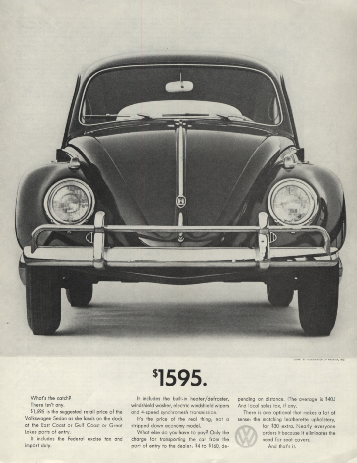 $1595. What's the catch? There isn't any Volkswagen ad 1961 SEP