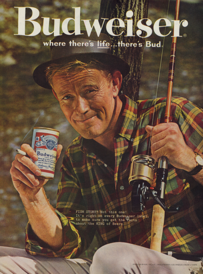Image for Fish story? Not this one Budweiser Beer ad 1961 spinning reel fisherman SEP