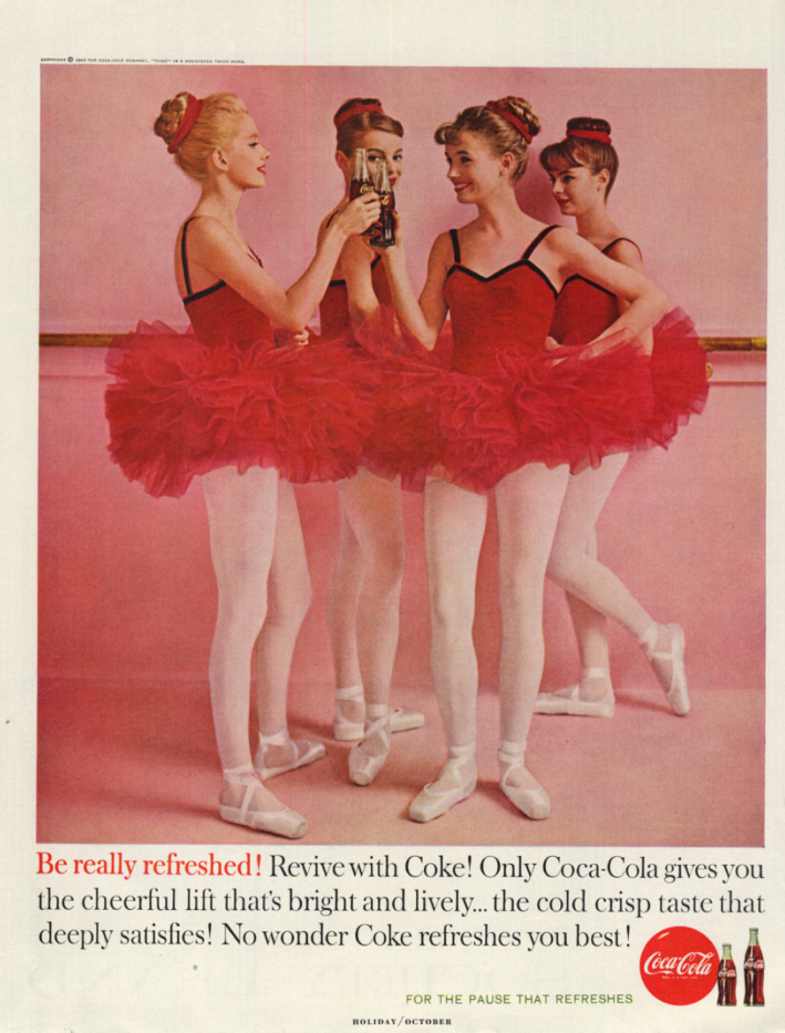 Be really refreshed! Revive with Coca-Cola ad 1960 four ballerinas H