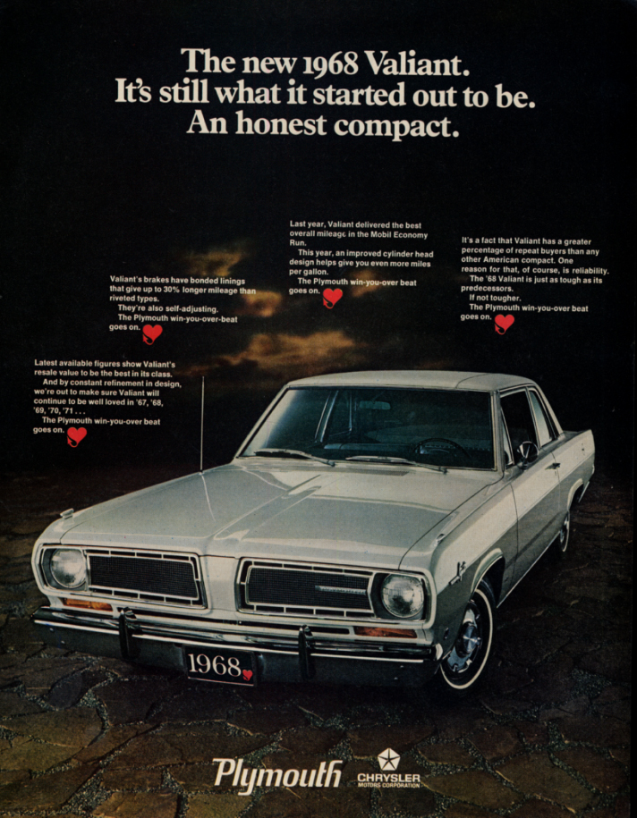 Image for Still an honest compact Plymouth Valiant ad 1968 LK