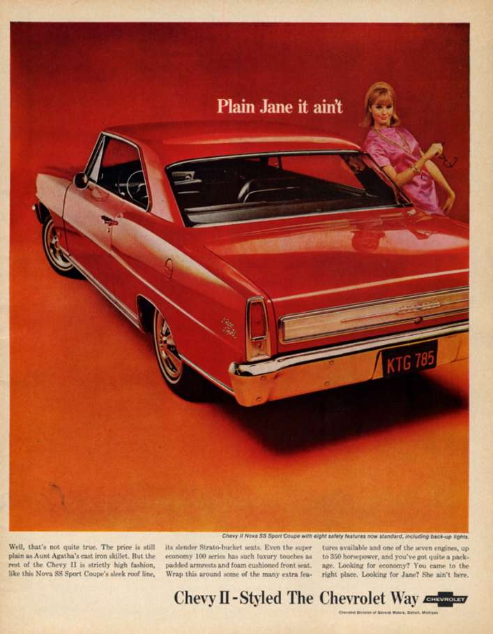 Image for Plain Jane it ain't Chevrolet Chevy II SS Coupe ad 1966 LK