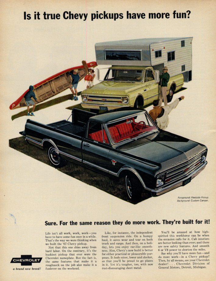 Image for Is it trye Chevrolet Pickups have more fun? Ad 1967 LK Fleetside