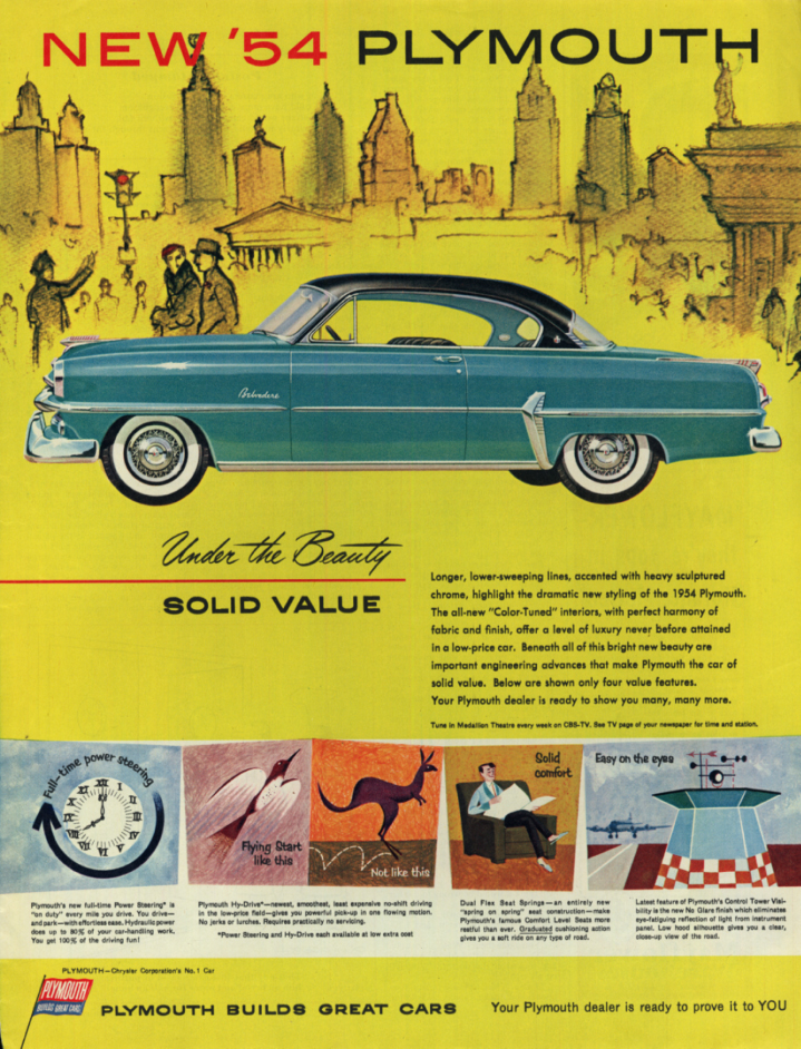Image for Under the beauty - solid value Plymouth Belvedere Hardtop ad 1954 Col