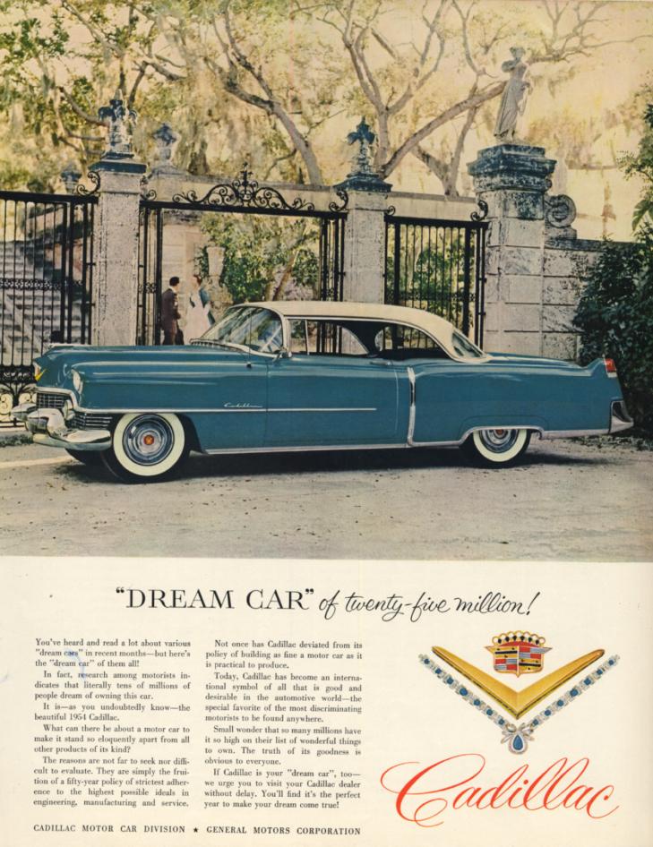 Dream Car of twenty-five million! Cadillac 2-door hardtop ad 1954 H