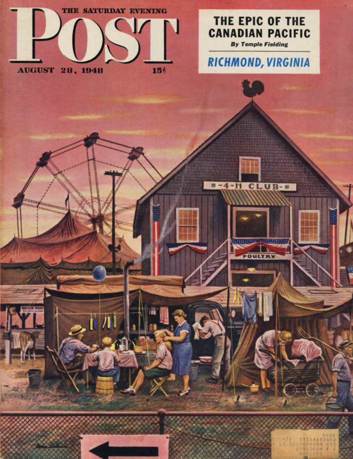 Image for SATURDAY EVENING POST COVER 1948 County Fair & Ferris Wheel by Stevan Dohanos