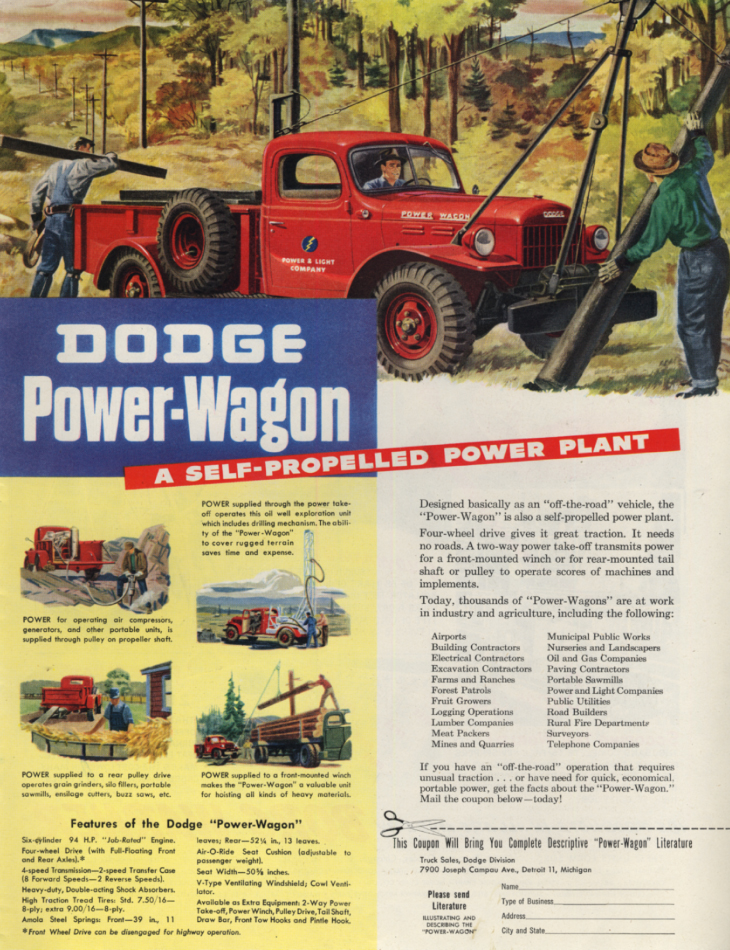 A Self-Propelled Power Plant: Dodge Power-Wagon ad 1947 SEP