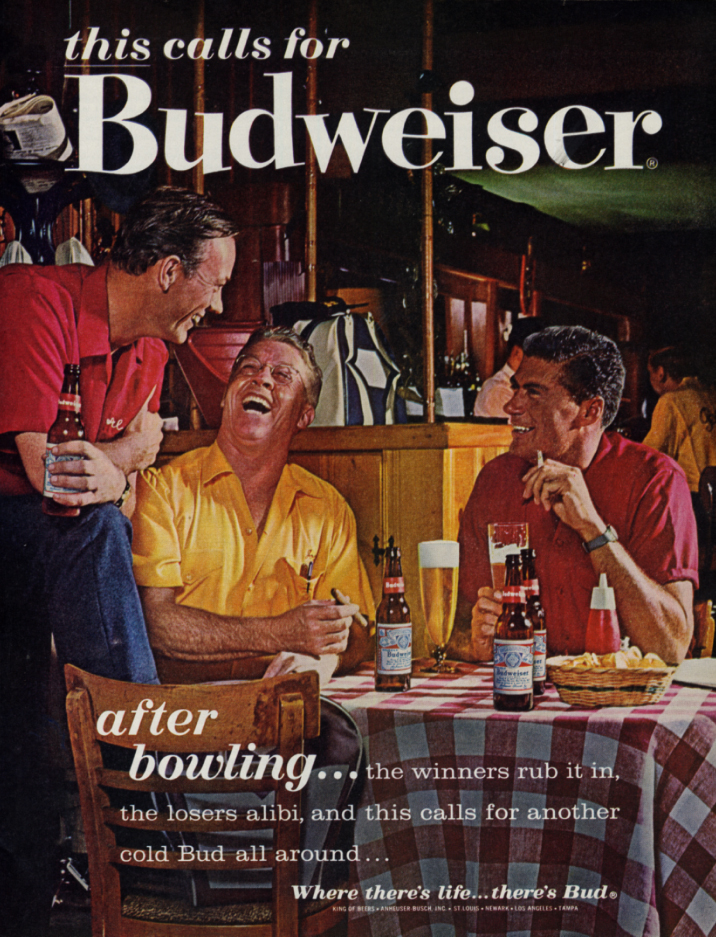After bowling - this calls for Budweiser Beer ad 1963 SEP