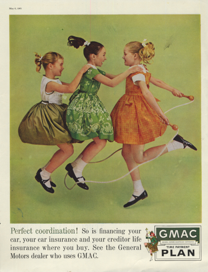 Image for Perfect coordination! GMAC Time Payment Plan ad 1961 preteen girls jump rope