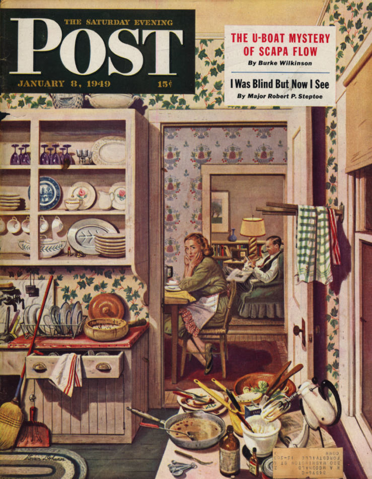 Image for SATURDAY EVENING POST COVER 1949 wife eyes undone dishes, husband reads; Donahos