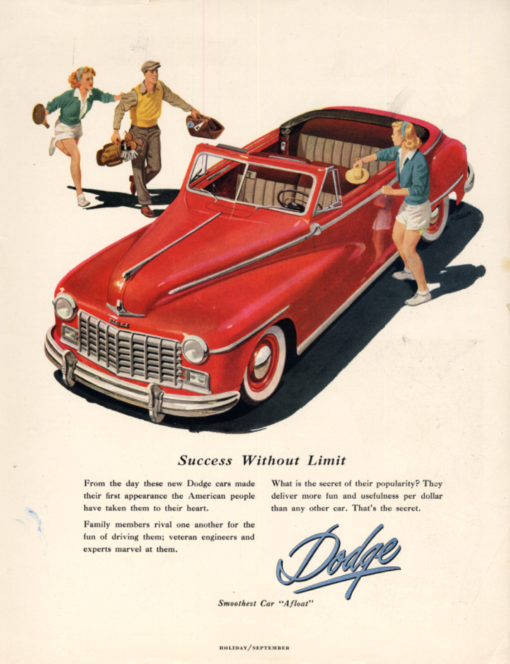 Image for Success Without Limit - Dodge Convertible ad 1947 H