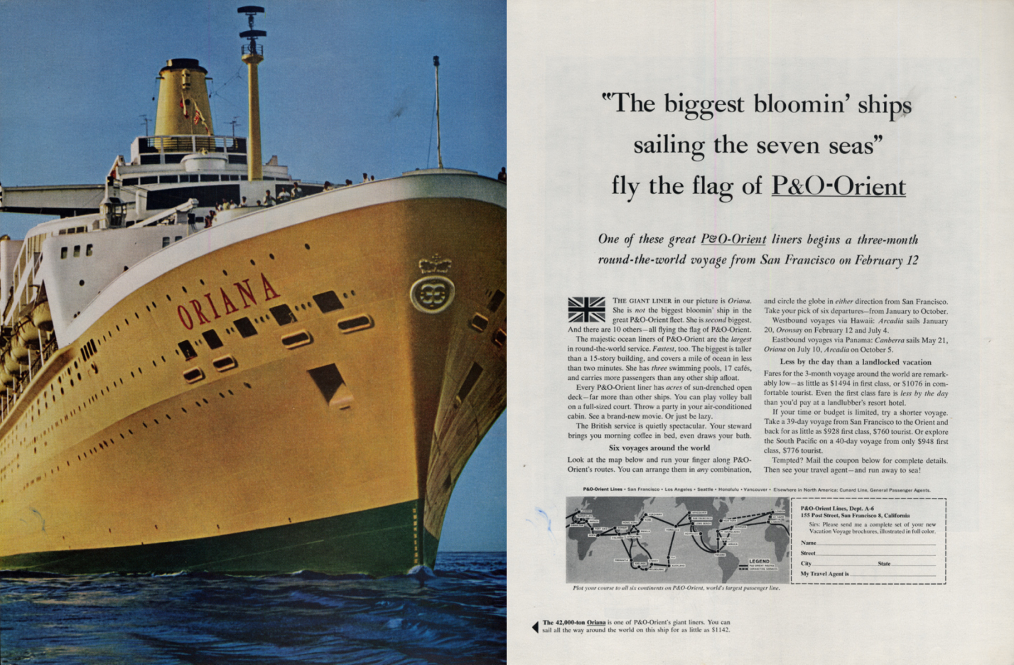 Image for Biggest bloomin' ships saling seven seas P&O-Roient S S Oriana ad 1963 H