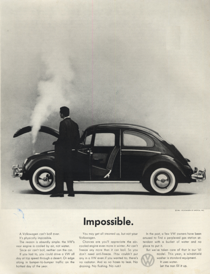 Image for Impossible. A Volkswagen can't boil over ad 1961 H
