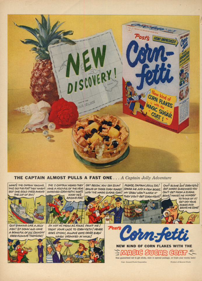 Image for Captain Jolly Pulls a Fast One Post Corn-fetti Cereal ad 1953 L