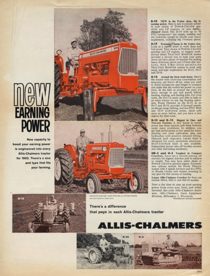 Image for New Earning Power: Allis-Chalmers D19 D-17 D-15 D-10 H-3 Tractor ad 1962
