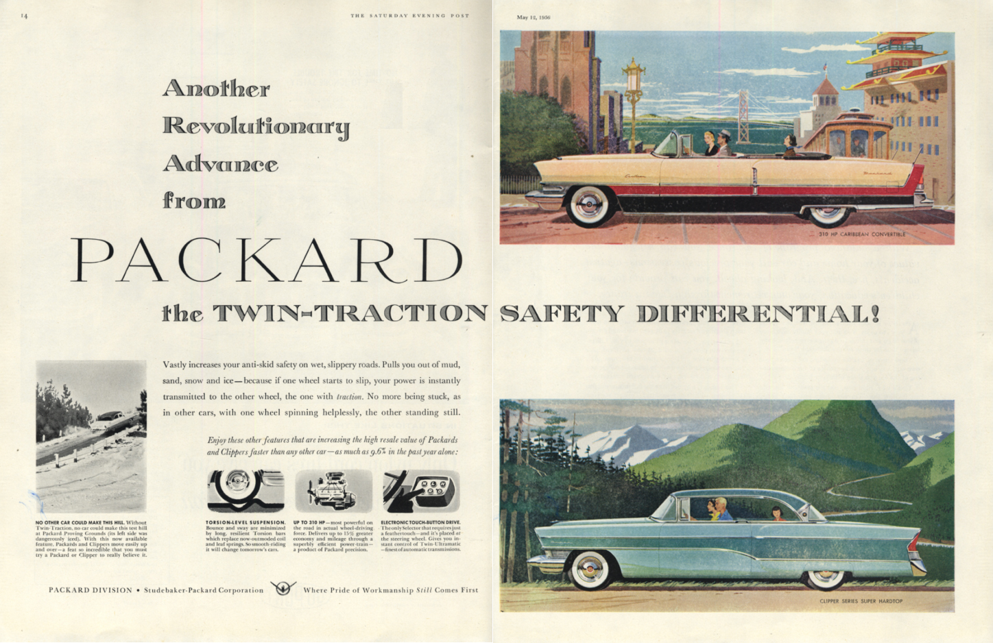Image for Twin-Traction Differential Packard Caribbean Convertible & Clipper ad 1956 SEP