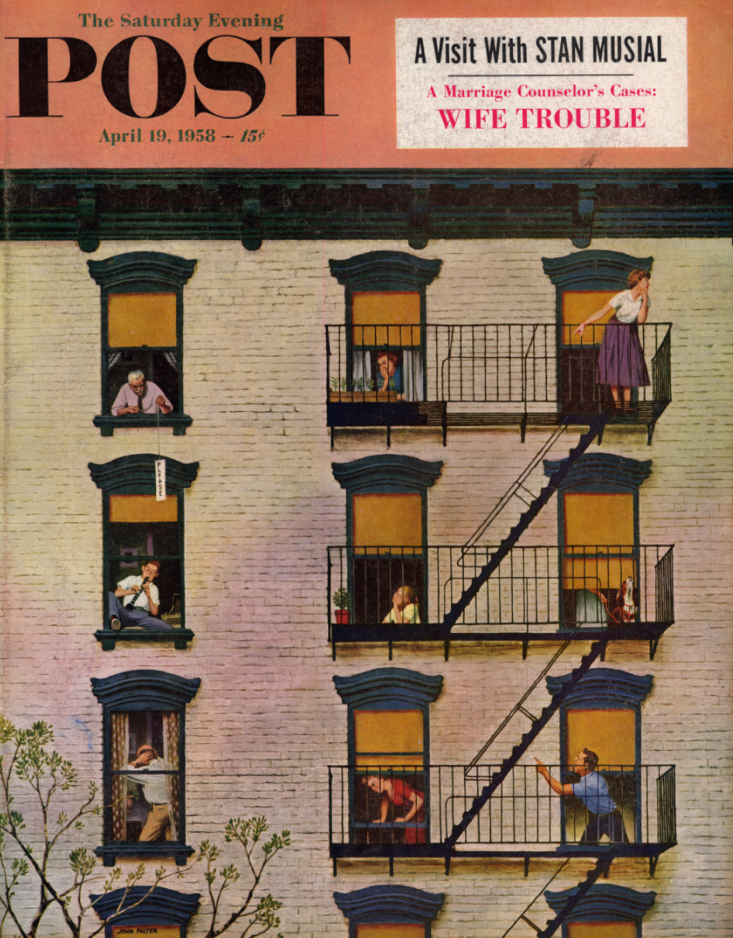Image for SATURDAY EVENING POST COVER 1958 kid's clarinet enrages apartment house: Falter